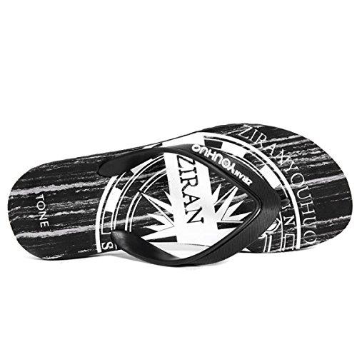 Sandali da Uomo Spiaggia Infradito Casual Moda Pantofole Sandali per Fidanzati Regali per Mare Bagno Viaggiare,Black-44