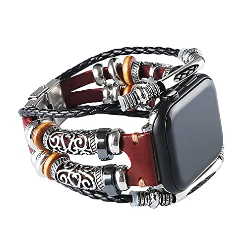 Konafei Compatible with Apple Watch Band 44mm 42mm 40mm 38mm iwatch Series SE 6 5 4 3 2 1, Leather Boho Bracelets Jewelry Multilayer Metal Cuff Retro Strap for Men&Women (Red, 42/44mm)