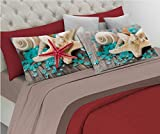 HomeLife Set Lenzuola Letto Matrimoniale Cotone, Made in Italy | Completo 2 Piazze Marrone + Federe Stampa Stella Marina e Mare | Lenzuolo sopra 250x300 + sotto con Angoli 180x200 + Federe 52x82