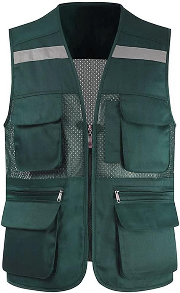 40% OFF Cheap Sale lhl Bright Reflective Jacksonville Mall Vest High Pock Mesh Multifunctional Zipper