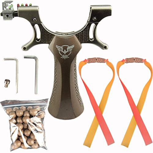 CTARGRST Juego de tirachinas de catapulta para caza al aire libre de Trumark + 2 bandas de goma de repuesto para animales pesados+50 municiones de bola de 7 mm (Profession 002)