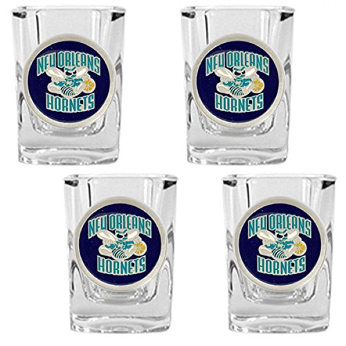 New Orleans Hornets NBA Rocks Glass & Square Shot Glass Set - Primary Logo
