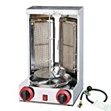 Two Ceramic Burners Gas Electric 2 in1 Automatic Rotating Doner Kebab Machine Chicken Shawarma Grill Machine