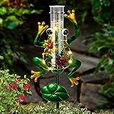 LUNSY Solar Rain Gauge Outdoor, Metal Frog Shape, Plastic Tube, with 2 Feet Stake,...
