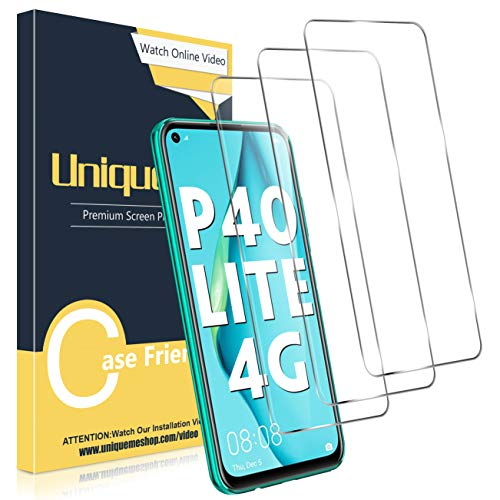 UniqueMe [3 Stück] Schutzfolie für Huawei P40 Lite Panzerglas, HD klar gehärtetes Glas Bildschirmschutz [9H Festigkeit Folie] [Anti-Fingerabdruck] Anti-Bläschen Folie