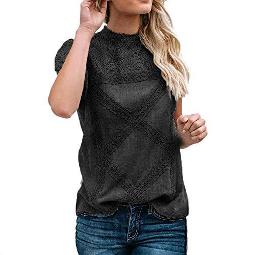 Camisetas Mujer SHOBDW Dia de la Mujer Verano Patchwork De Encaje Casual Ahuecar Volantes Manga Corta Suéter De Cuello De Tortuga Linda Blusa Floral Camiseta Blanca para Mujer (M, Negro)