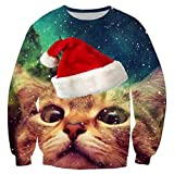 RAISEVERN Unisex Galaxy Space Ugly Christmas Cat Print Graphic Xmas Pullover Sweater Sweatshirt for Womens Mens, 2017 Style Christmas Cat 7, XX-Large