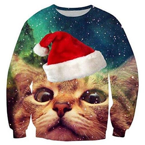 RAISEVERN Unisex Galaxy Space hässliche Weihnachtskatze Print Cute Xmas Pullover Pullover Sweatshirt für Frauen Männer