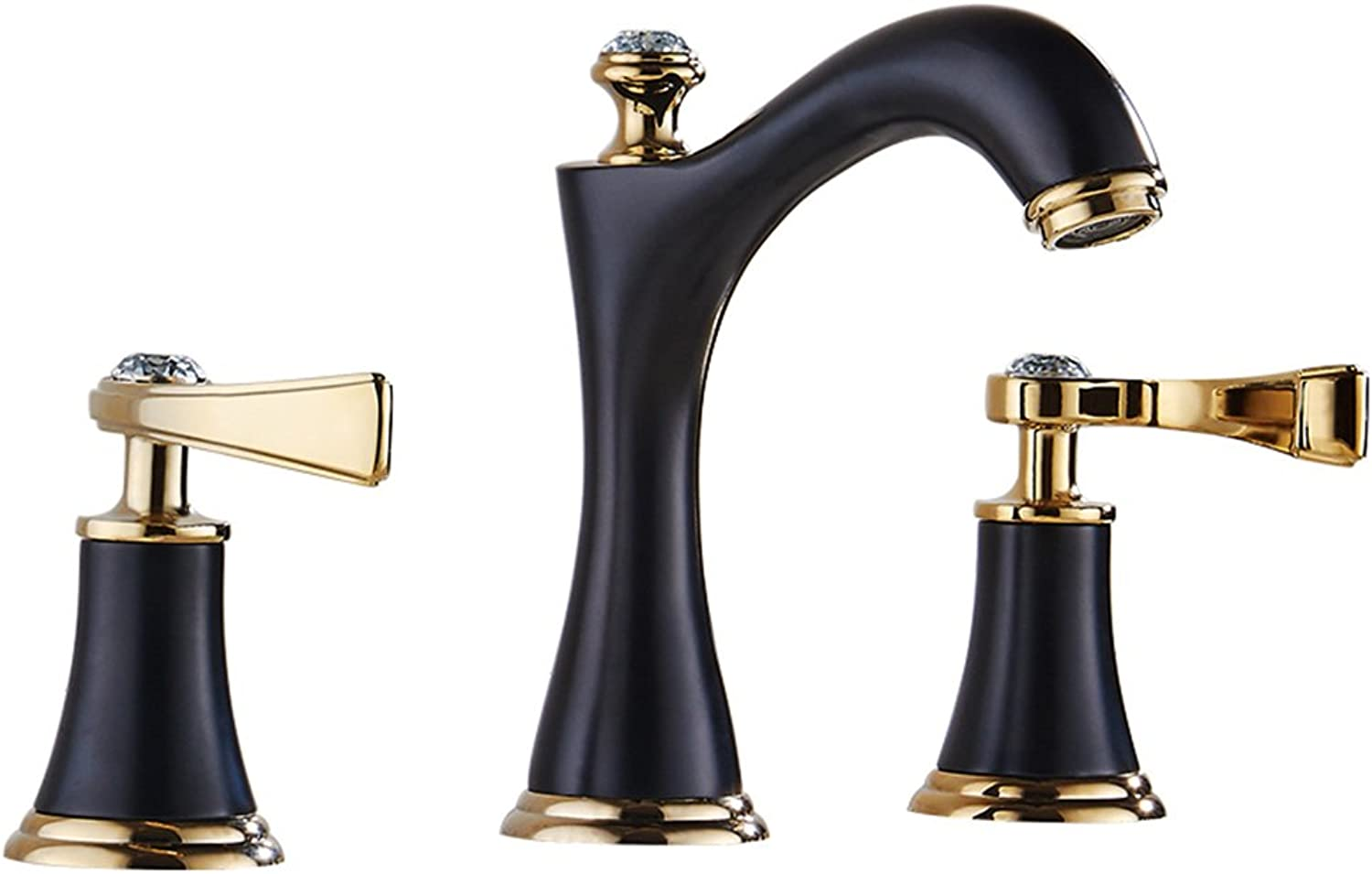 QIDI Kitchen Faucet Black Retro Three Holes Hot And Cold Stainless Steel