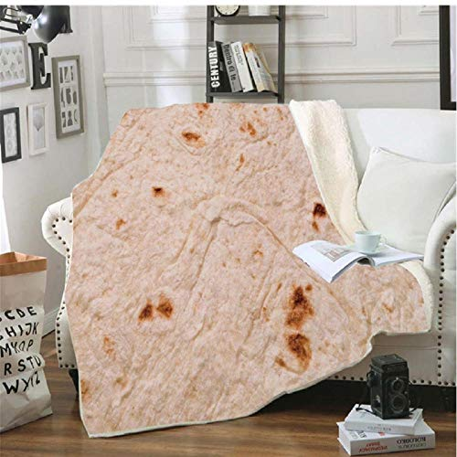 Xzfddn Manta de Burrito suave con forma de tortilla mexicana para el hogar, sofá, cama, manta de terciopelo cálido