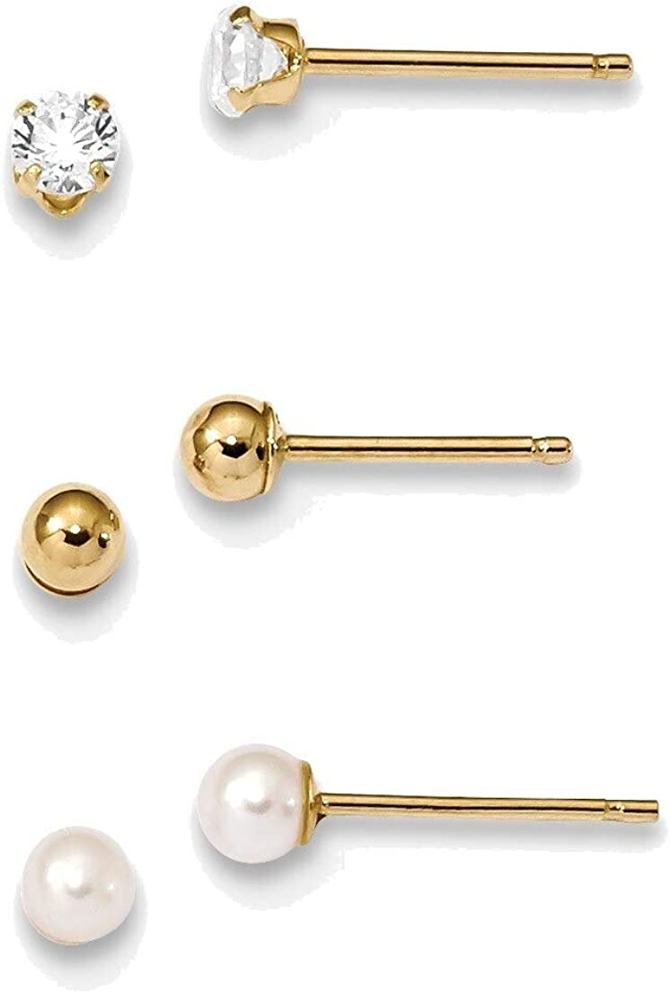 Madi K Ball, CZ & Freshwater Cultured Pearl 3 Pair Earring Set in 14K Yellow Gold