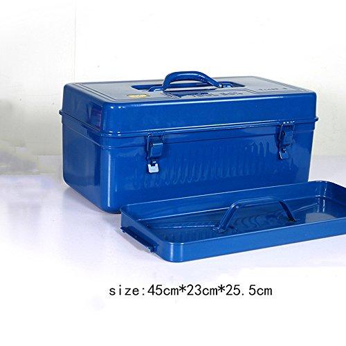 JYKJ gereedschapskist, draagbaar, multifunctioneel, van ijzer, gereedschapskist voor gereedschappen met grote capaciteit
