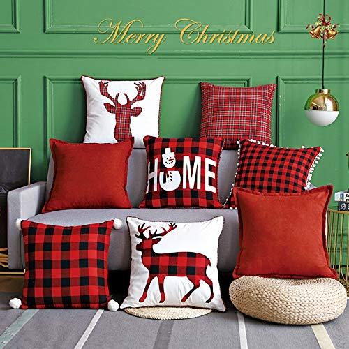 SYyshyin Juego de fundas de cojín de Navidad de cuadros rojos y negros, almohada de alce de Navidad (color: muñecos de nieve, tamaño: núcleo)