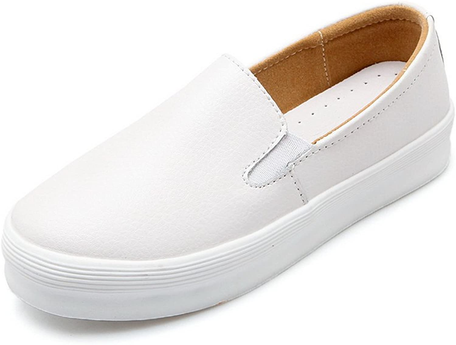 A&N Womens Round-Toe No-Closure Low-Heel Urethane Loafers shoes