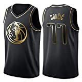 WOLFIRE WF Camiseta de Baloncesto para Hombre, NBA, Dallas Mavericks #77 Luka Doncic. Bordado, Transpirable y Resistente al Desgaste Camiseta para Fan