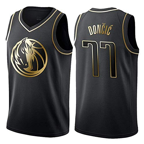 WOLFIRE WF Camiseta de Baloncesto para Hombre, NBA, Dallas Mavericks #77 Luka Doncic. Bordado, Transpirable y Resistente al Desgaste Camiseta para Fan (Golden Edition, L)