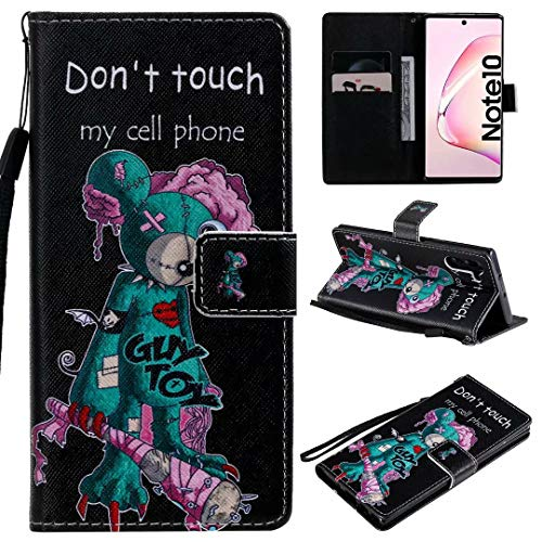 Miagon Flip PU Leder Schutzhülle für Samsung Galaxy Note 10,Bunt Muster Hülle Brieftasche Case Cover Ständer mit Kartenfächer Trageschlaufe,Grün Maus