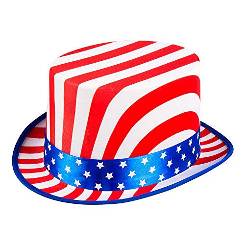 Boland 44963 - Hut USA Deluxe, one size, Hutinnenband für die jeweilige Kopfweite, KW 56-61, blau-weiß-rot, Stars and Stripes, Amerika, Party, Karneval, Halloween, Fasching, Mottoparty