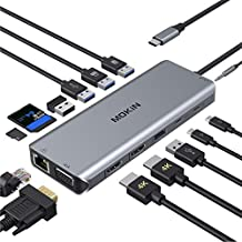 Docking Station Dual Monitor, 14 in 1 USB-C Laptop Docking Station USB Type C Hub Multiport Adapter Dongle with 2 HDMI VGA 5 USB SD/TF Audio for Dell/Surface/HP/Lenovo Laptops