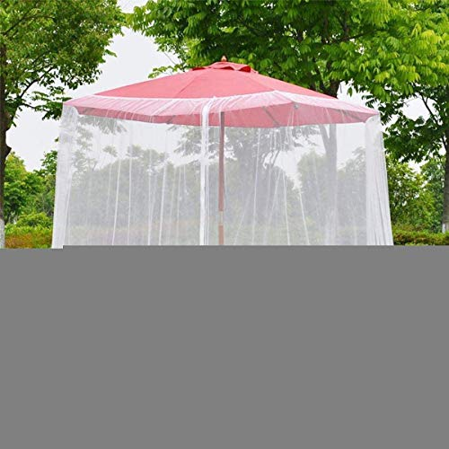H.aetn Outdoor Garden Umbrella Mosquito Net Cover, Patio Umbrella Mesh Screen Portable with Zipper 100% Polyester Mesh Mosquito Umbrella Canopy Suitable For Gazebos Outdoor