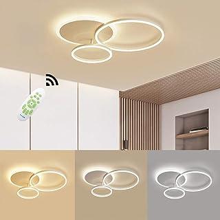 LED Lámpara de Techo, 54W 5400lm Moderna Aluminio LED Luz de Techo, Regulable con Control Remoto, 3000K - 6000K, Luces de Techo de la Sala de Estar, Pasillo, Dormitorio, 3 Anillo 65 * 50 * 8cm
