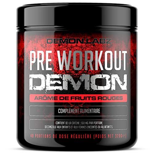 Pre Workout Demon (Arôme de fruits rouges) – Complément puissant pré-entrainement avec créatine, caféine, bêta-alanine et glutamine (320 grammes, 40 portions)