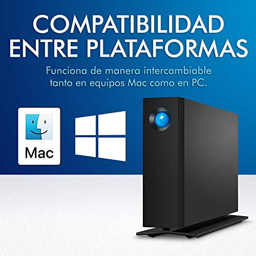 LaCie d2 Professional, 6 TB, Disco duro externo HDD de sobremesa portátil, USB-C, USB 3.0, 7200 r.p.m., unidades de clase empresarial, para Mac y PC, suscripción de 1 mes a Adobe CC (STHA6000800) miniatura
