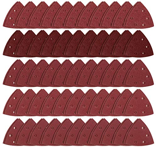 S SATC Triangle Hook and Loop 100PCS 3-1/2 Inch 90mm Triangle Sander Pads Triangle Detail Oscillating Tools 40/60/80/100/120 Grit Sanding Paper 6 Holes Detail Sander Sandpaper