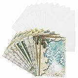 Weihnachtskarten-Set Nostalgie | Vintage | Weihnachts-Grußkarten | 10 Klappkarten mit blanko Umschlag | 10 Umschläge | Din B6 | 230g/m² | 5 Karten-Designs à 2 Stück