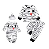 Aalizzwell Toddler Baby Halloween Romper Outfit PJS for Kids Funny Mummy Onesie (Mummy Romper, 3-6 Months)