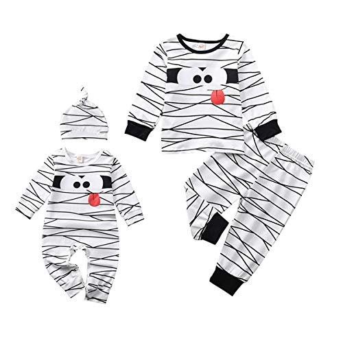 Toddler Baby Boys Girls Plaid Romper Jumpsuit Outfit PJS for Kids Christmas Onesies Matching Outfits Fall Winter Clothes (Mummy Shirt, 18-24Months)