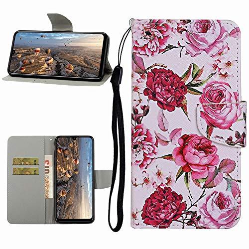 Miagon Hülle für Xiaomi Redmi Note 9S,Handyhülle PU Leder Brieftasche Schutz Flip Case Wallet Cover Klapphüllen Tasche Etui mit Kartenfächern Stand,Rosa Blume