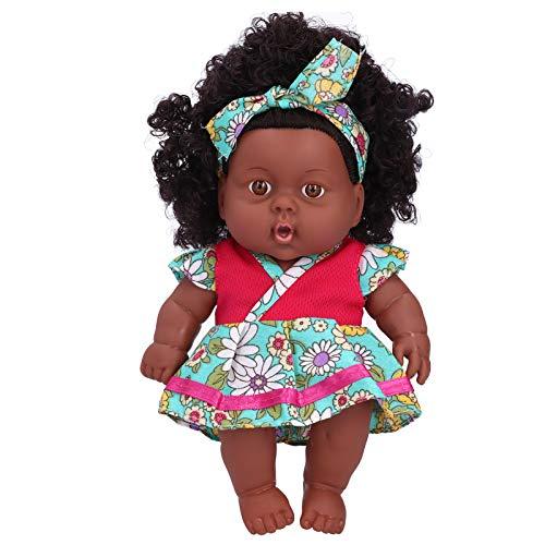 Livsliga babydockor, tvättbart hår, 7,9 tum återfödda dockor, för barn vuxna(Q8-003 rose pink green skirt)