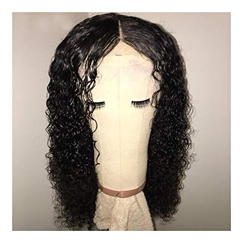 LEZDPP Lace Closed Wig, Curly Human Wig with Curly Hair, Pre-Collected Hairline for Baby Hair, Remy Closed Wig, Black Women Hairpieces