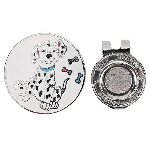 T best Sport Golf Ball Markers, Aleación de Zinc Compacto Personalizado Golf Magnetic Hat Clip Anti-Rust Cap Clamp Regalo para Hombres Mujeres Niños(Perro Manchado)