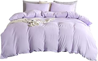 MOVE OVER 3 Pieces Lavender Bedding Light Purple Duvet Cover Set 100% Washed Microfiber Quilt Cover Soft Lilac/Violet Bedding Sets King 1 Duvet Cover 2 Pillowcases (King, Lavender)