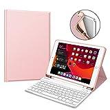 Fintie Tastatur Hülle für iPad 10.2 Zoll 7. Generation 2019, Soft TPU Rückseite Gehäuse Schutzhülle mit Pencil Halter, magnetisch Abnehmbarer Bluetooth Tastatur mit QWERTZ Layout, Roségold