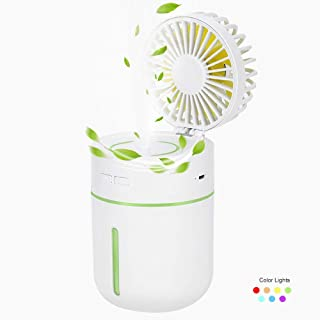 Portable Handheld Misting Fan, Lowki USB Rechargeable, Adjustable Speed & Angle, Personal Desktop Air Humidifiers Spray Fan with Night Light for Outdoor Travel Home Office