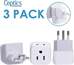 Switzerland Travel Adapter Plug by Ceptics with Dual USA Input - Power - Type J (3 Pack) - Ultra Compact - Safe Grounded Perfect for Cell Phones, Laptops, Camera Chargers and More (CT-11A)