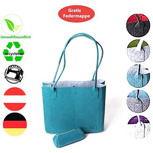 FilzGut® Shopper Greta - Größe M (15L) als Einkaufstasche - große Handtasche oder Schultertasche aus Filz - Außen Petrol & Innen Grau
