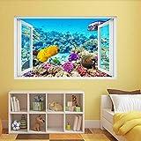 Pegatinas de pared Acuario submarino Coral Fish 3D Etiqueta de la pared Mural Decal Kids Room Decor