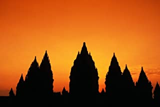 Posterazzi Indonesia Java Prambanan Shiva Mahadeva Temple Silhouetted At Sunset Poster Print (34 x 22)