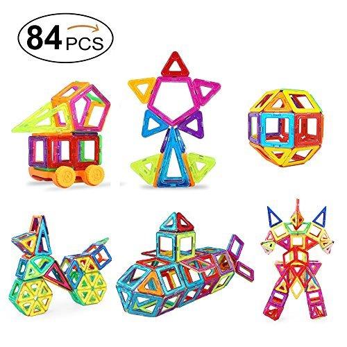 Mini Magnetic Blocks, Packfun 84pcs Building Construction Toy Set, 46 Magnetic Blocks + 38 Non-Magnetic Accessories
