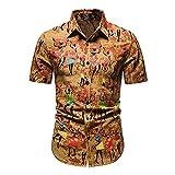 Playa Shirt Hombre Verano Ajustado Hombre Deportiva Camisa Personalidad Estampado Botón Placket Manga Corta Causal Vacaciones Cómodo Hombre Hawaii Camisa G-Multicolor 7 L