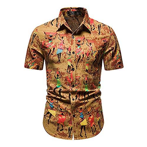 Shirt Hawaiana Hombre Botones De Cuello Kent Verano Hombre Camisa Casual Bolsillos con Estampado Moda Ajustados Camisa Manga Corta Transpirable Personalidad Hombre Shirt Playa G-Multicolor 7 XL