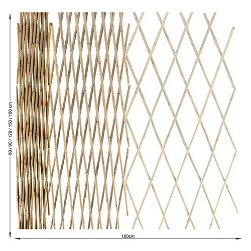 casa pura Rankgitter aus Bambus - bis auf 180 cm Breite ausziehbar - Spalierzaun für Kletterpflanzen, als Dekoration oder Sichtschutz - für Garten, Terrasse, Balkon - 180 x 180 cm (HxB) - Natur