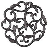 gasaré, Cast Iron Trivet, Vine Plant Decor, for Hot Dishes, Pots, Pans, Kitchen, Rubber Feet Caps, Ring Hanger, 8 Inches, Rustic Brown Finish, 1 Unit