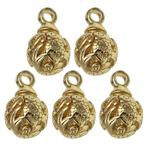 Exceart 5St Messing Karper Bedels Hanger Kralen Bengelen Bedels Accessoires Voor Diy Hoofddeksels Oorbellen Armband Ketting Sieraden Maken
