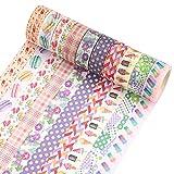 Cintas Washi Tape,10 rollos de cinta adhesiva decorativa con estampado de álbumes de recortes de colores,suministros para manualidades,envoltorios de regalos,álbumes de recortes