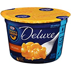 One 2.39 oz. cup of Kraft Deluxe Original Macaroni and Cheese Dinner Cups Kraft Deluxe Original Macaroni and Cheese Dinner Cups are a quick and easy dinner Easy macaroni and cheese cups include macaroni noodles and prepared cheese sauce Contains no a...